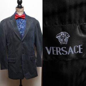 Versace 100% cotton blazer blue green hue size 44R